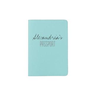 Limpet Shell Aqua Blue Green Solid Color Custom Passport Holder