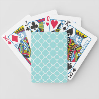 Limpet Shell Blue  Quatrefoil Bicycle Playing Cards
