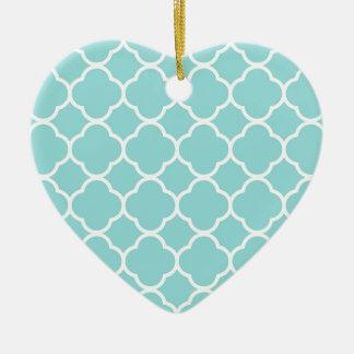 Limpet Shell Blue  Quatrefoil Ceramic Heart Decoration