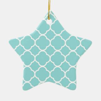 Limpet Shell Blue  Quatrefoil Ceramic Star Decoration