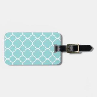 Limpet Shell Blue  Quatrefoil Luggage Tag