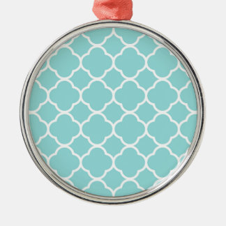 Limpet Shell Blue  Quatrefoil Metal Ornament