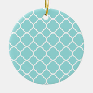 Limpet Shell Blue  Quatrefoil Round Ceramic Decoration