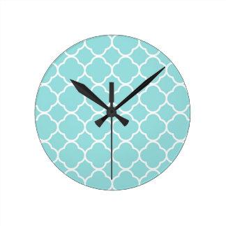 Limpet Shell Blue  Quatrefoil Round Clock