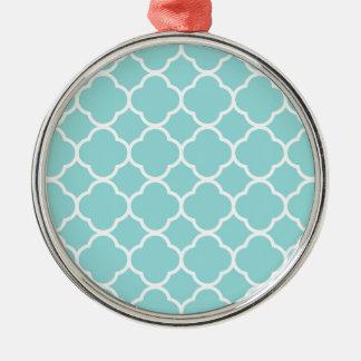 Limpet Shell Blue  Quatrefoil Silver-Colored Round Decoration