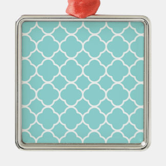 Limpet Shell Blue  Quatrefoil Silver-Colored Square Decoration