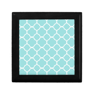 Limpet Shell Blue  Quatrefoil Small Square Gift Box