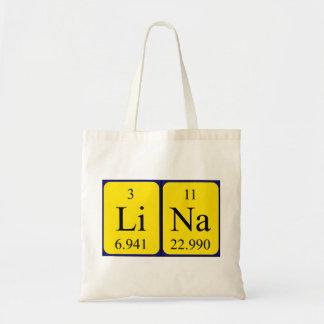 Lina periodic table name tote bag