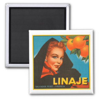 Linaje Brand VIntage Crate Label Square Magnet