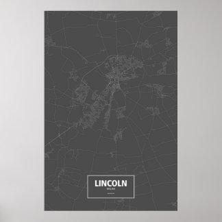 Lincoln, England (white on black) Poster