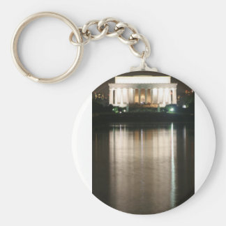 Lincoln Memorial Night Reflection Basic Round Button Key Ring