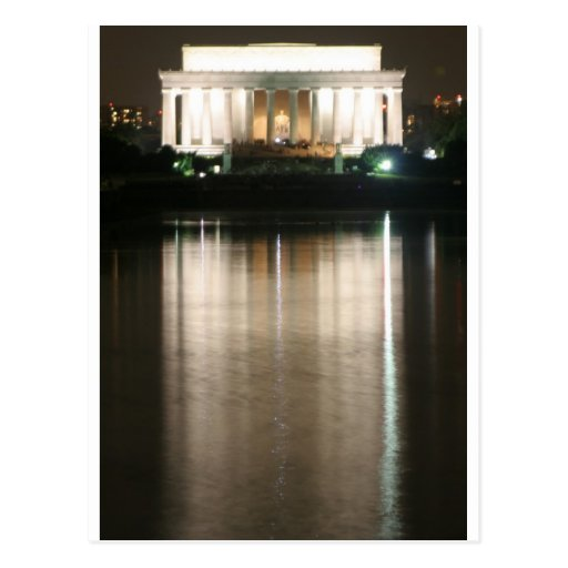 Lincoln Memorial Night Reflection Postcard