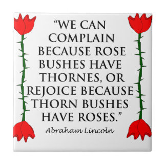 Lincoln: on Thornes and Roses (Two Roses). Ceramic Tile