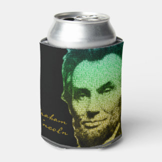 Lincoln Portrait Text Poster Can Cooler