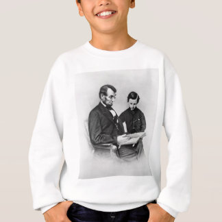 Lincoln reading with son Tad Kids Sweatshirt
