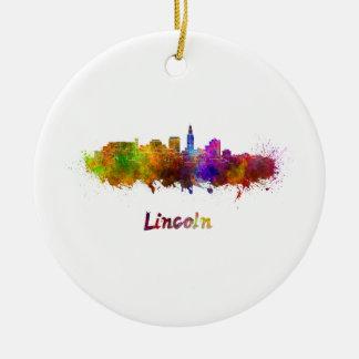 Lincoln skyline in watercolor ceramic ornament