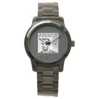 Lincoln & Stand Firm Quote Bracelet Watch