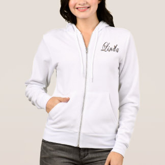 Linda, Name, Logo, Ladies White Zipped Hoodie. Hoodie