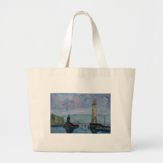 Lindau with Lion and Lighttower on Lake Constance Large Tote Bag