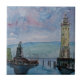 Lindau with Lion and Lighttower on Lake Constance Tile