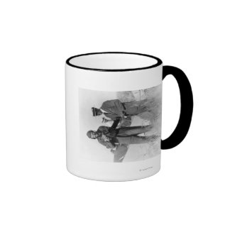 Lindbergh and Wright with Wrecked Plane Mugs