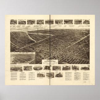 Lindenhurst New York 1926 Antique Panoramic Map Poster