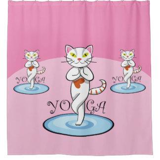 Lindo gato yoga shower curtain