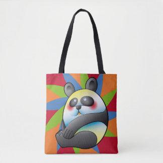 Lindo Oso panda sobre coloridas formas Tote Bag
