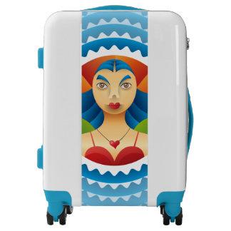 Lindo rostro femenino luggage