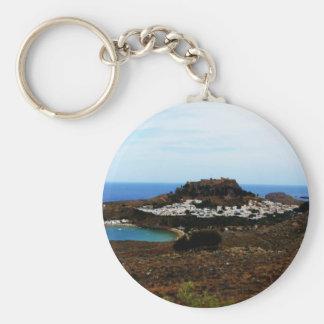 Lindos, Rhodes, Greece Basic Round Button Key Ring
