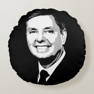 Lindsey Graham Face Round Cushion