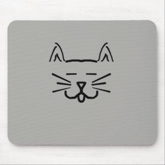 line art cat face mouse pad