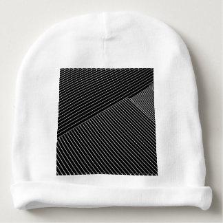 Line art - geometric illusion, abstract stripes bw baby beanie