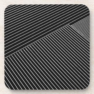 Line art - geometric illusion, abstract stripes bw coaster