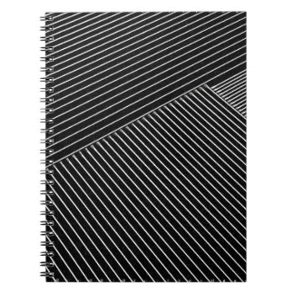 Line art - geometric illusion, abstract stripes bw notebook