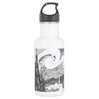 Line Art Interpretation of Starry Starry Night 532 Ml Water Bottle
