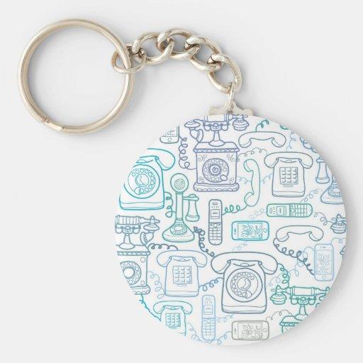 Line art phones pattern keychain