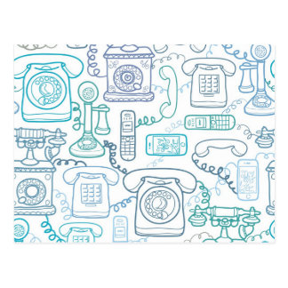 Line art phones pattern postcard