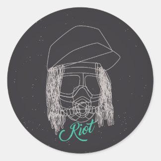 Line Art Riot Sticker
