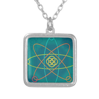Line Atomic Structure Silver Plated Necklace