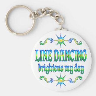 Line Dancing Brightens Basic Round Button Key Ring
