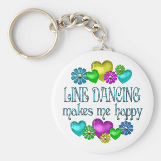 Line Dancing Happinness Basic Round Button Key Ring
