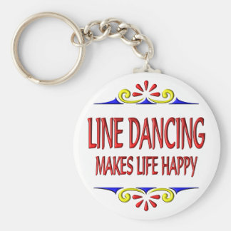 Line Dancing Makes Life Happy Basic Round Button Key Ring