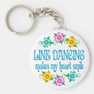 Line Dancing Smiles Basic Round Button Key Ring