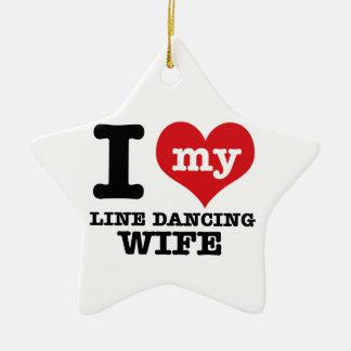 Line dancing Wife Ceramic Ornament