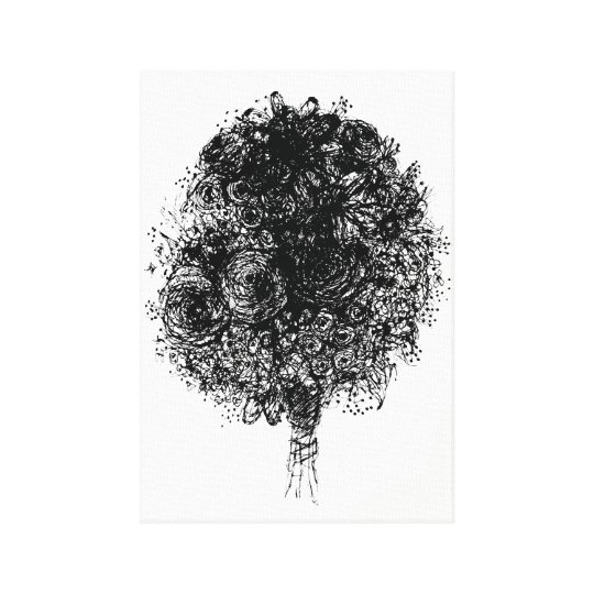 Drawing Lines With Canvas : Line drawing bouquet black and white art canvas print zazzle