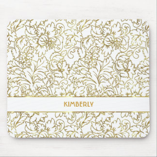 Line Drawing Gold Floral Damasks White Background Mouse Pad