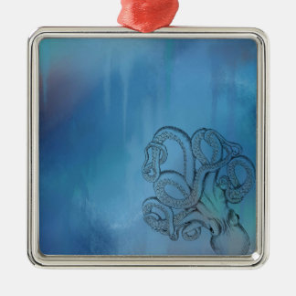 Line Drawing Realism Octopus Silver-Colored Square Decoration