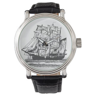 Line drawing Sailboat Windjammer Nautical Watch