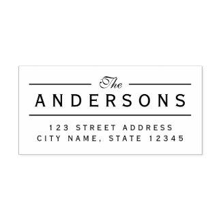 Line Elegant Family Name Return Address Self-inking Stamp